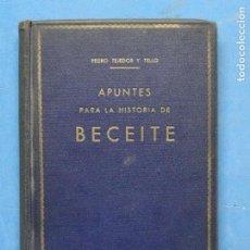 Libros antiguos: APUNTES PARA LA HISTORIA DE BECEITE.- TEJEDOR Y TELLO, PEDRO.. Lote 117025555