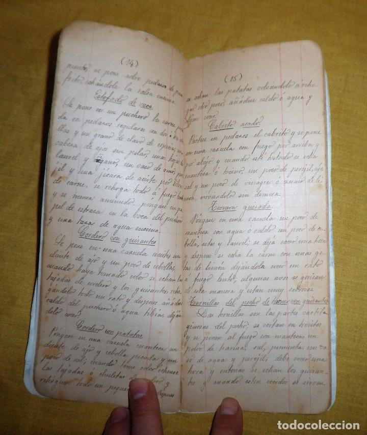 ANTIGUO LIBRO MANUSCRITO RECETAS DE COCINA SIGLO XIX - EXCEPCIONAL. (Libros Antiguos, Raros y Curiosos - Cocina y Gastronomía)