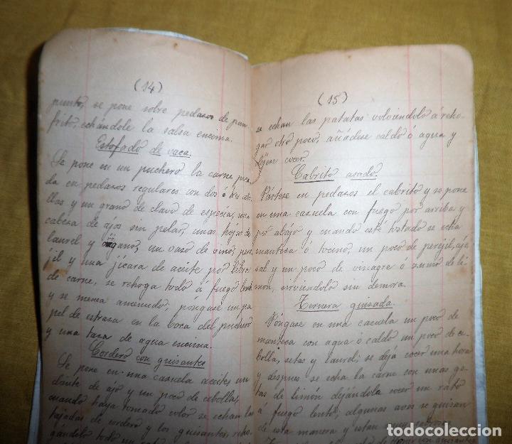 Libros antiguos: ANTIGUO LIBRO MANUSCRITO RECETAS DE COCINA SIGLO XIX - EXCEPCIONAL. - Foto 3 - 117430011