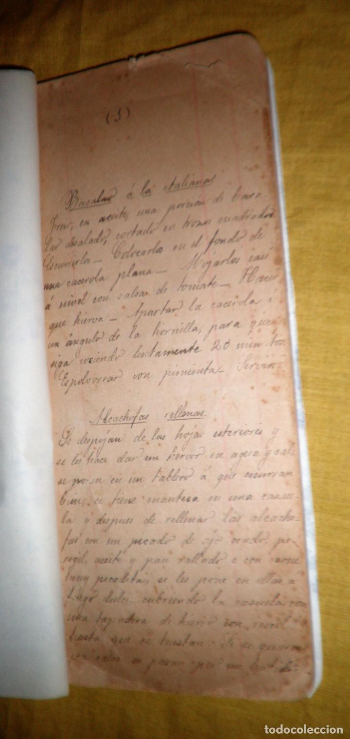 Libros antiguos: ANTIGUO LIBRO MANUSCRITO RECETAS DE COCINA SIGLO XIX - EXCEPCIONAL. - Foto 4 - 117430011