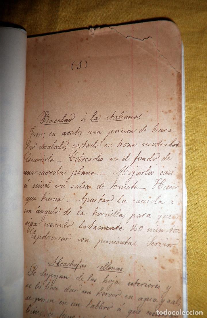 Libros antiguos: ANTIGUO LIBRO MANUSCRITO RECETAS DE COCINA SIGLO XIX - EXCEPCIONAL. - Foto 5 - 117430011