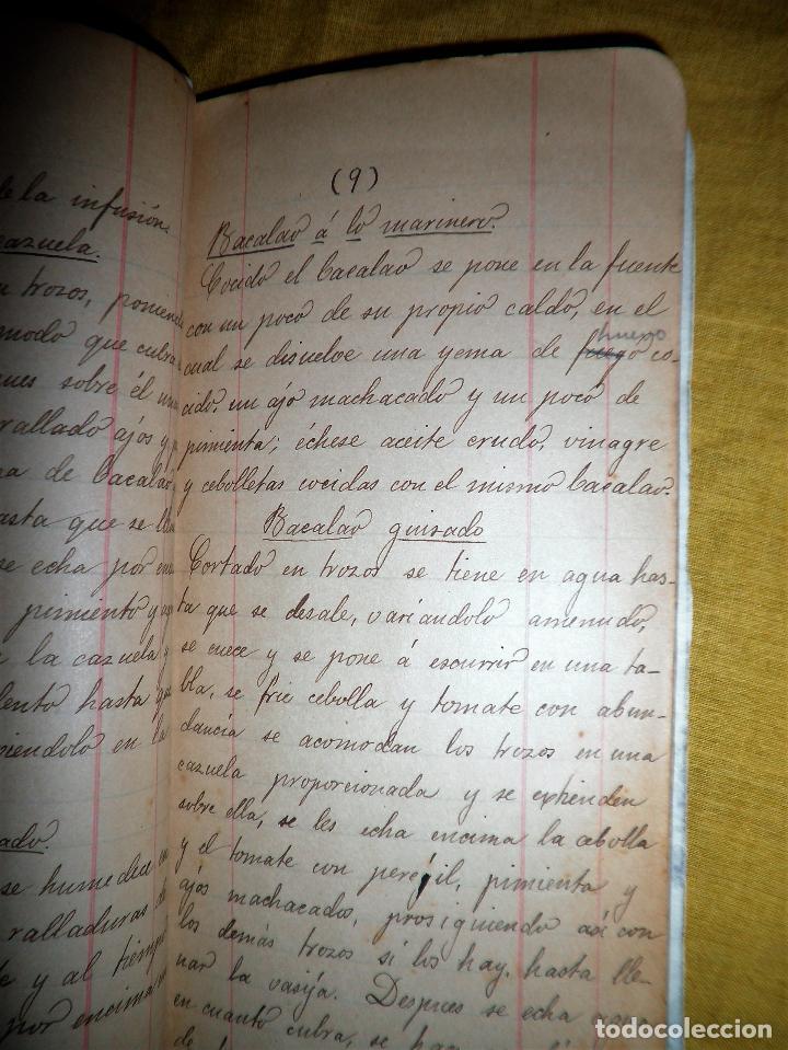 Libros antiguos: ANTIGUO LIBRO MANUSCRITO RECETAS DE COCINA SIGLO XIX - EXCEPCIONAL. - Foto 6 - 117430011
