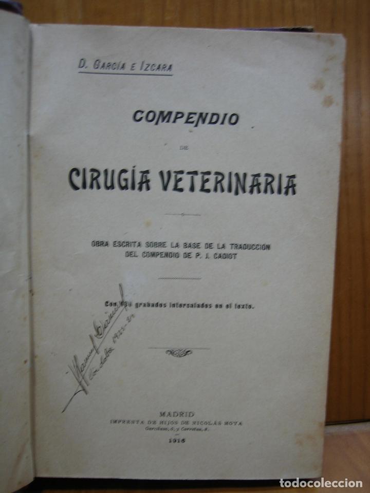 COMPENDIO DE CIRUGÍA VETERINARIA 1916 (Libros Antiguos, Raros y Curiosos - Ciencias, Manuales y Oficios - Otros)