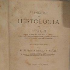 Livros antigos: ELEMENTOS DE HISTOLOGIA - ED. RAMON MOLINAS - 1888. Lote 118365207