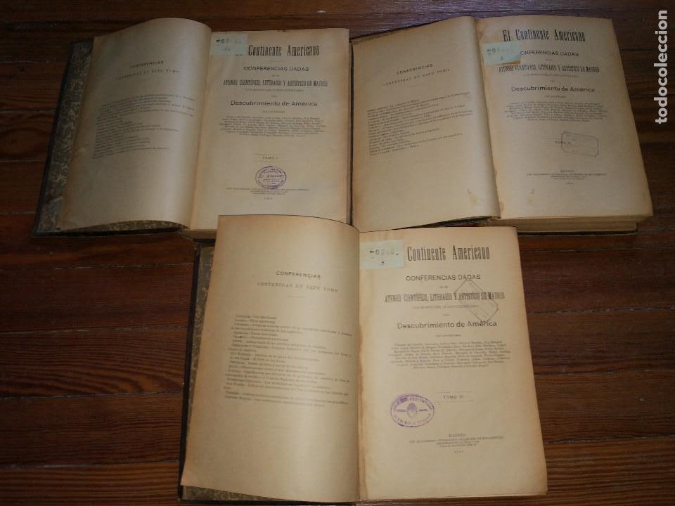 Libros antiguos: El Continente Americano. Conferencias dadas en el Ateneo Científico de Madrid. 3 Vol. 1894 - Foto 3 - 118471011