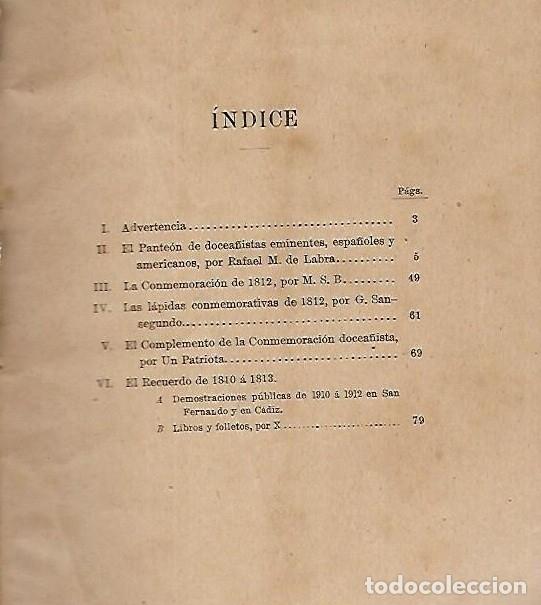 Libros antiguos: LA CONMEMORACION DE LAS CORTES DE CADIZ. 1913. - Foto 3 - 27076736