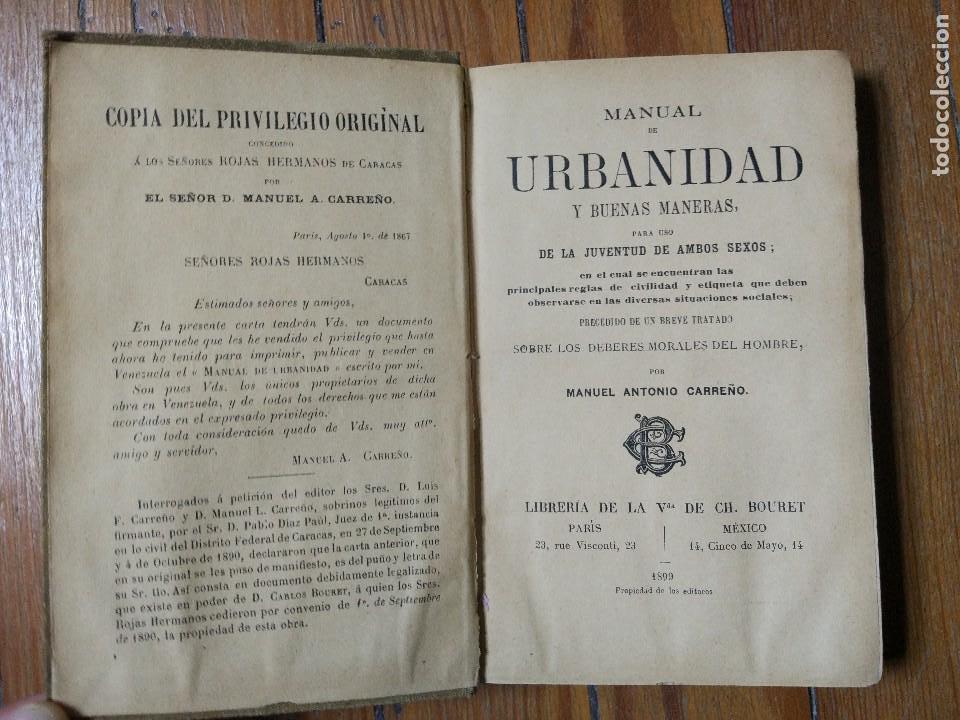 Libros antiguos: Manual de urbanidad y buenas maneras para uso de la juventud de ambos sexos. M. A. Carreño. 1899 - Foto 2 - 119004411