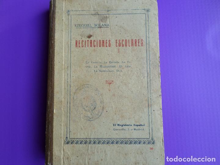 LIBRO DE ESCUELA RECITACIONES ESCOLARES 1921 (Libros Antiguos, Raros y Curiosos - Pensamiento - Otros)