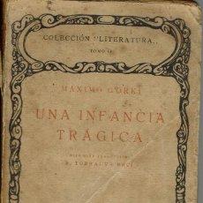Libros antiguos: UNA INFANCIA TRÁGICA, POR MÁXIMO GORKI. AÑO ¿? (14.3). Lote 119423167