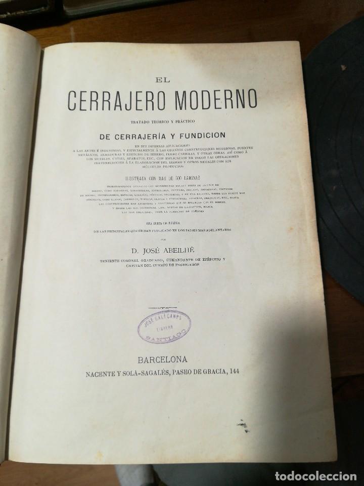 Libros antiguos: El cerrajero moderno - Foto 3 - 120026319