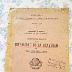 Libros antiguos: 1935 GUILLERMO SANS HUELIN ALBORAN MULHACENM - DETERMINACIONES INTENSIDAD GRAVEDAD GRAVIMETRIA. Lote 53400198