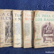 Libros antiguos: 4 VOLUMENES VIAJES Y AVENTURAS Nº 3 4 7 8 1 A ED J. BALLESTA BUENOS AIRES GRABADOS 18X25CMS. Lote 120838943