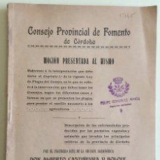 Libros antiguos: CORDOBA- AGRICULTURA- CONSEJO PROVINCIAL FOMENTO- ALBERTO CASTIÑEYRA Y BOLOIX- 1.916. Lote 121128759
