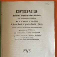 Libros antiguos: MURCIA- TABACO- REAL SOCIEDAD ECONOMICA DE AMIGOS DEL PAIS 1.856. Lote 121236235