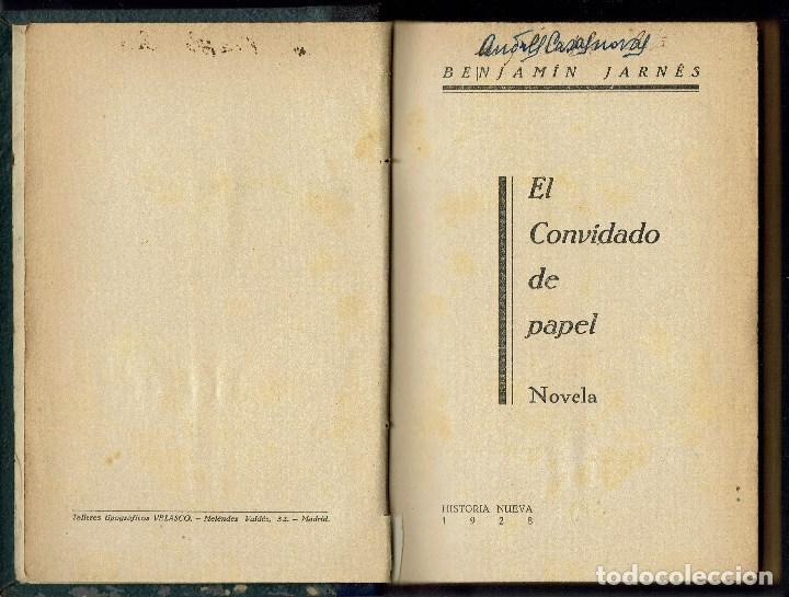 Libros antiguos: EL CONVIDADO DE PAPEL, POR BENJAMÍN JARNÉS. AÑO 1928 (1.4) - Foto 2 - 121405639