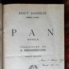 Libros antiguos: PAN NOVELA. KNUT HAMSUN.. Lote 121608651