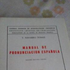 Libros antiguos: MANUAL DE PRONUNCIACION ESPAÑOLA. Lote 121707691