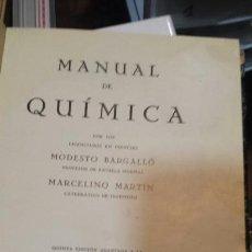 Libros antiguos: MANUAL QUÍMICA. Lote 122450394