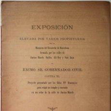 Libros antiguos: EXPOSICIÓN ELEVADA POR VARIOS PROPIETARIOS DE LA MANZANA DEL ENSANCHE DE BARCELONA FORMADA POR.... Lote 123144243