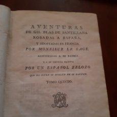 Libros antiguos: 1791 AVENTURAS DE GIL BLAS DE SANTILLANA. Lote 123505260