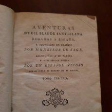 Libros antiguos: 1791 AVENTURAS DE GIL BLAS DE SANTILLANA. Lote 123506192