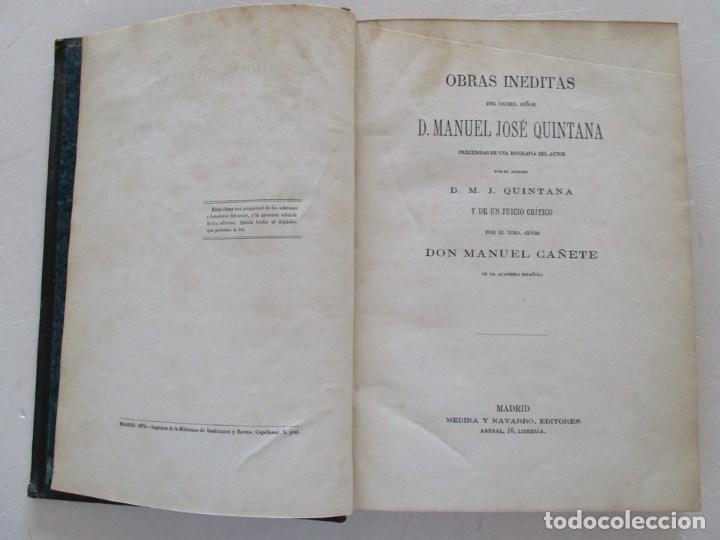Libros antiguos: DON MANUEL JOSÉ QUINTANA Obras Inéditas. RM86619 - Foto 2 - 123593799