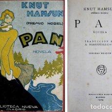 Libros antiguos: HAMSUN, KNUT. PAN. NOVELA. TRADUCCIÓN DE ALFONSO HERNÁNDEZ-CATÁ. MADRID, 1929.. Lote 123746339