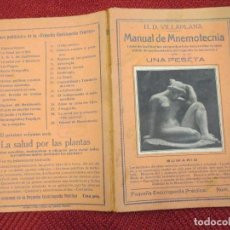 Libros antiguos: MANUAL DE MNEMOTECNIA - H,D, VILLAPLANA - Nº61 AÑOS 30 61PP 19CM.. Lote 123780847
