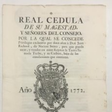 Libros antiguos: REAL CEDULA DE SU MAGESTAD, Y SEÑORES DEL CONSEJO, POR LA CUAL SE CONCEDE... CARBON, MINAS. Lote 123150188