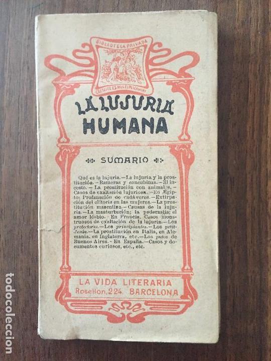 LA LUJURIA HUMANA POR EL DR. LUIS M. DE AGUIRRE. LA VIDA LITERARIA (Libros Antiguos, Raros y Curiosos - Pensamiento - Otros)