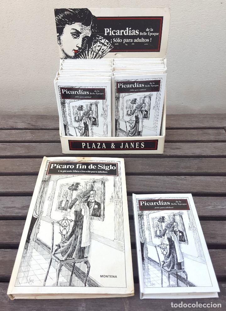 LIBRO PÍCARO FIN DE SIGLO EDITORIAL MONTENA + MOSTRADOR DE CARTÓN CON 10 MINI LIBROS TODOS IGUALES (Libros Antiguos, Raros y Curiosos - Bellas artes, ocio y coleccionismo - Otros)