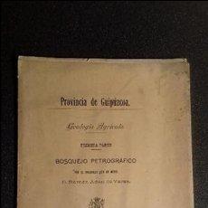 Libros antiguos: GUIPUZCOA. AGRICULTURA. PAÍS VASCO. MAPA.. Lote 124290703