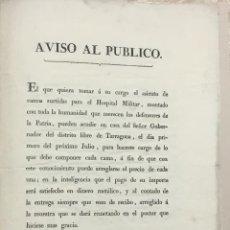 Libros antiguos: AVISO AL PUBLICO. - [VILANOVA I LA GELTRÚ.] 1813.. Lote 123271535