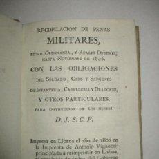 Libros antiguos: RECOPILACIÓN DE PENAS MILITARES, SEGUN ORDENANZA, Y REALES ORDENES,... 1812.. Lote 123150360