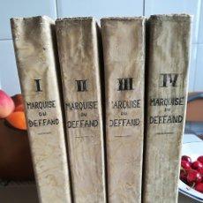 Libros antiguos: LETTRES DE LA MARQUISE DU DEFFAND A HORACE WALPOLE. CHEZ PONTHIEU. PARIS. 1824. 4 VOL.. Lote 124466091