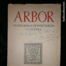 Libros antiguos: F1 ARBOR REVISTA GENERAL DE INVESTIGACION Y CULTURA FEBRERO MCMLIII-1958. Lote 124543947