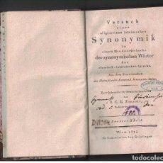 Libros antiguos: VERSUCH ALLG. LATEINISCHEN SYNONYMIK, I.C.G. ERNESTI, 3 VOL, WIEN 1814 - LIBRO EN ALEMÁN. Lote 124564267