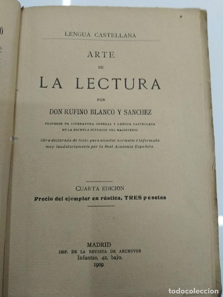 ARTE DE LA LECTURA RUFINO BLANCO 1909 REVISTA DE ARCHIVOS MADRID (Libros Antiguos, Raros y Curiosos - Ciencias, Manuales y Oficios - Otros)