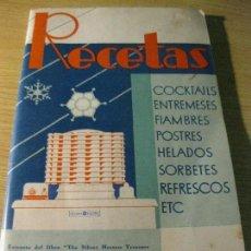 Libros antiguos: RECETAS DE COCINA REFRIGERADORA GENERAL ELECTRIC - AÑO 1932 COCKTAILS FIAMBRES, HELADOS POSTRES . Lote 142307733
