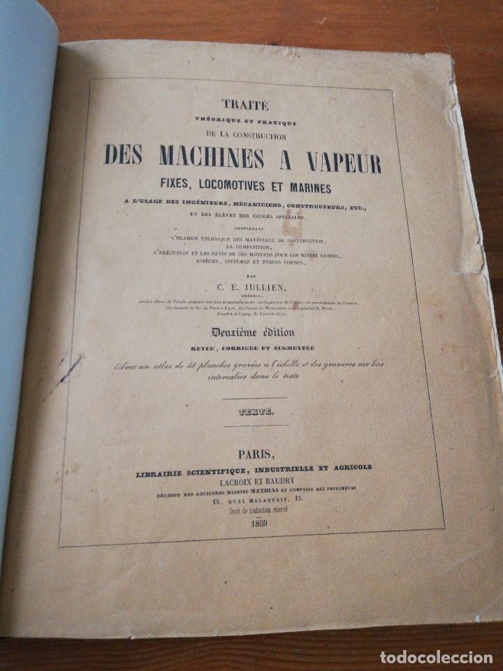DES MACHINES A VAPEUR. C. E. JULLIEN. 1859. TEXTO Y ATLAS. (Libros Antiguos, Raros y Curiosos - Ciencias, Manuales y Oficios - Otros)