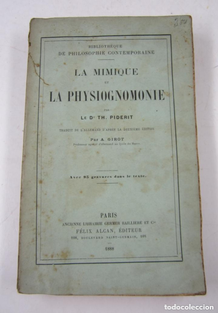 Libros antiguos: La mimique et la physiognomonie, Th. Piderit, 1888, Paris. 14,5x23cm - Foto 1 - 125374643