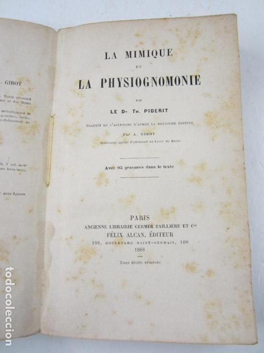 Libros antiguos: La mimique et la physiognomonie, Th. Piderit, 1888, Paris. 14,5x23cm - Foto 2 - 125374643