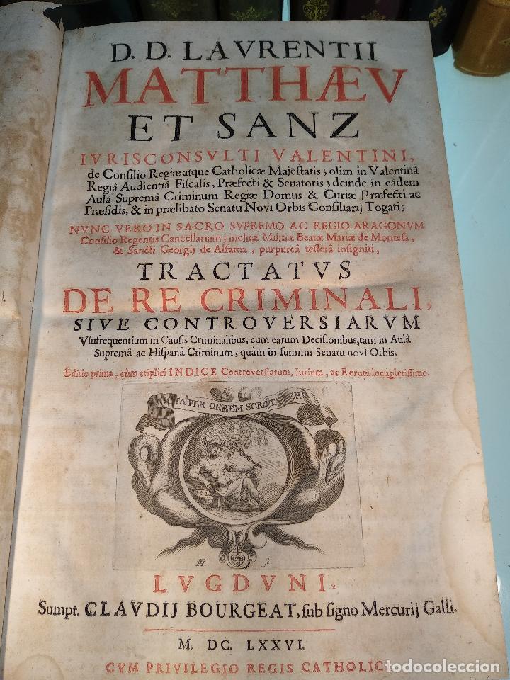 TRACTATUS DE RE CRIMINALI, SIVE CONTROVERSIARUM USUFREQUENTIU, IN CAUSIS CRIMINALIBUS.. - 1676 - (Libros Antiguos, Raros y Curiosos - Pensamiento - Otros)