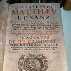 Libros antiguos: TRACTATUS DE RE CRIMINALI, SIVE CONTROVERSIARUM USUFREQUENTIU, IN CAUSIS CRIMINALIBUS.. - 1676 -. Lote 125881947