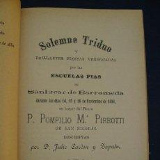 Libros antiguos: RARÍSIMO. SANLÚCAR DE BARRAMEDA. DOS NOTABLES ACONTECIMIENTOS 1890.. Lote 125934351