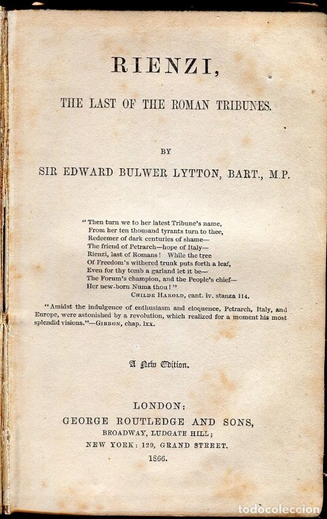 RIENZI-THE LAST OF THE ROMAN TRIBUNES EDWARD BULWER LYTTON- 1866- (Libros Antiguos, Raros y Curiosos - Bellas artes, ocio y coleccionismo - Otros)