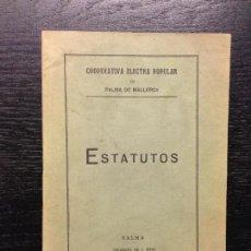 Libros antiguos: ESTATUTOS DE LA COOPERATIVA ELECTRA POPULAR DE PALMA DE MALLORCA, 1935. Lote 125999179