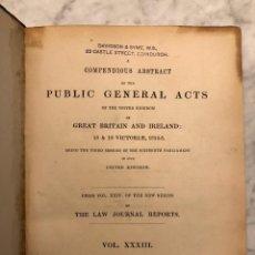 Libros antiguos: MUS---PUBLIC GENERAL ACTS-VOL.XXXIII-MDCCCLV(46€). Lote 126125775