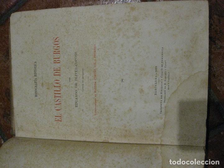 Libros antiguos: Monografia historica . el castillo de burgos . Eduardo de oliver .1893 il. barrio cortes . 226 pág - Foto 6 - 126212883