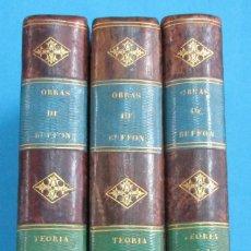 Libros antiguos: TEORÍA DE LA TIERRA. OBRAS DE BUFFON AUMENTADAS POR CUVIER. 6 TOMOS, 3 VOLÚMENES.1832. PIEL.COMPLETO. Lote 126260819